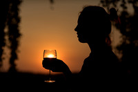 Woman and wineglass silhouette
